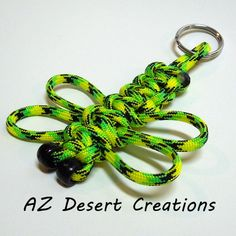 Zombie Green Dragonfly Paracord Key Chain 550 Military Grade Paracord | DesertCreations - Accessories on ArtFire
