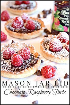 Mason Jar Lid Chocolate Raspberry Tarts. Brilliant (and they're made with store-bought pie crusts!)