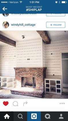 9 Peaceful Clever Tips: Fireplace Design Glass fireplace and tv focal points.Fireplace Built Ins Narrow. Fireplace Redo, Shiplap Fireplace, Fireplace Remodel, Fireplace Outdoor, Fireplace Ideas, Fireplace Candles, Craftsman Fireplace, Cottage Fireplace, Simple Fireplace