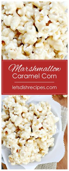 Marshmallow Caramel Corn Recipe -- This marshmallow coated popcorn is the perfect sweet treat for movie night, or just for fun! This marshmallow coated popcorn is the perfect sweet treat for movie night, or just for fun! Yummy Snacks, Delicious Desserts, Snack Recipes, Dessert Recipes, Yummy Food, Healthy Snacks, Marshmallow Popcorn, Caramel Corn Recipes, Recipes With Marshmallows