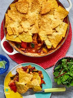A hearty meal topped with a cheesy nacho top, packed full of vegetables and smoky flavours that will be sure to warm you up on a cool night.