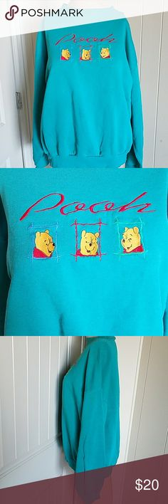Vintage Disney Winnie The Pooh Sweater Green pullover. Has three faces of Pooh. Very tiny unnoticeable stain. Disney Sweaters