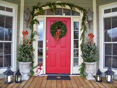 Front door Christmas decor.