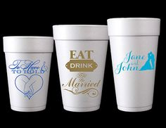 ITEM DETAILS  Personalize your own Styrofoam Cups to celebrate any event!  Whether you want to serve soft drinks, beer, wine, margaritas or cocktails, your cups will make any party memorable.  They are great for weddings, parties, birthdays and BBQ's, as well as a wonderful personalized take home gift for your guests.  We want to make your celebration unique, fun and memorable.    Available in 8 different sizes, along with lids.  Orders are available in quantities of 50, 100, 150, 200, 250…