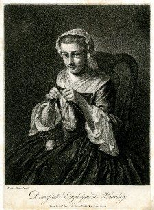 Domestick Employment, Knitting; A young woman sitting directed to left, looking up towards the viewer, knitting with a ball of wool in her lap, wearing a voluminous dark gown with white fichu and cuffs, and a frilled cap; after Mercier.  Mezzotint    Inscriptions  Inscription Content: Lettered below the image with the title and 'Philip Mercier Pinx.t // Printed for Rob.t Sayer, at the Golden Buck in Fleet Street, London.' c1760s; British Museum 2010,7081.972