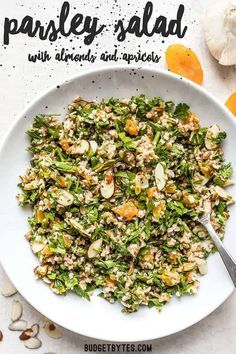 This Parsley Salad with Almonds and Apricots is savory, sweet, crunchy, and drenched in a tangy homemade vinaigrette! Holds up well to refrigeration and perfect for meal prep! Vegetarian Recipes Easy, Clean Eating Recipes, Veggie Recipes, Seafood Recipes, Salad Recipes, Healthy Eating, Cooking Recipes, Healthy Recipes, Yummy Veggie