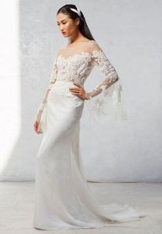 ivy aster fall 2017 bridal long bell sleeves illusion bateau sweetheart neckline heavily embroidered bodice elegant romantic modified a line wedding dress chapel train (luna) mv -- Ivy & Aster Fall 2017 Wedding Dresses Most Beautiful Wedding Dresses, Boho Wedding Dress, Wedding Dress Styles, Beautiful Gowns, Wedding Gowns, Ivy And Aster, Bride Groom Dress, Bridal Outfits, Bridal Style
