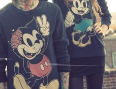 Mickey and Minnie Mouse Felix the Cat zombie crewneck. <3 <3 <3 I'm in love.