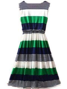 My Mom loved to mix Green & Navy - Love this dress! Green Round Neck Sleeveless Striped Mid Waist Dress - Sheinside.com