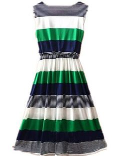 My Mom loved to mix Green & Navy - Love this dress! Green Round Neck Sleeveless Striped Mid Waist Dress - Sheinside.com