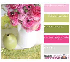 pink and green.... Change the last one to brown and it's a decent color pallet for the wedding