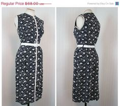 ON SALE 1950s Dress  Vintage 50s Navy White Wiggle by jumblelaya, $54.40