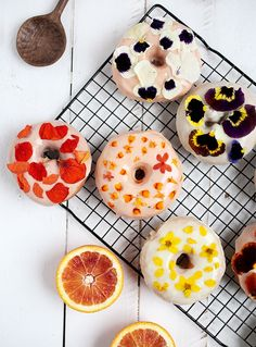 Floral donuts with blood orange and lemon ginger glaze from The Merry Thought