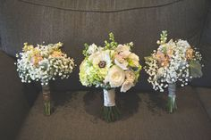 Bridal bouquets: anemones and baby's breath look fresh and modern with silvery foliage and blush roses | Foxhall Resort and Sporting Club, Atlanta Metro Venue | Katie Snyder Photography