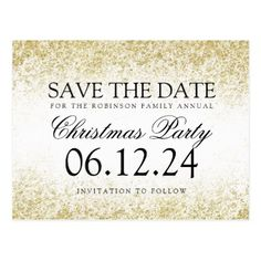 #savethedate #postcards - #Christmas Save The Date Gold Glitter Dust White Postcard