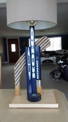 Hockey Decor Hockey Stick Lamp Sports Lamp by SaultydogCreations, $110.00. Office lamp for the man cave.