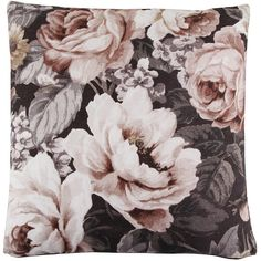Bloomingville Flower Cushion - Nude ($69) ❤ liked on Polyvore featuring home, home decor, throw pillows, pillows, bloomingville, cushions, decor, black, floral home decor and black home decor