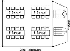 Basic tent layout of a 20X20 tent. By following this layout, you ...