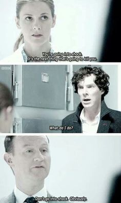 It shows you how Sherlock interprets the people around him. In his head, Mycroft is condescending but intelligent. And Moriarty is just insane and speaks in riddles and gibberish. Sherlock Holmes, Sherlock Fandom, Moriarty, Sherlock Season, Sherlock John, John Watson, Johnlock, Martin Freeman, Benedict Cumberbatch