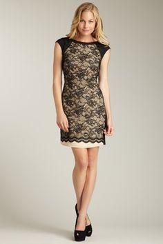 Jessica Simpson -- Lace Panel Short Sleeve Dress
