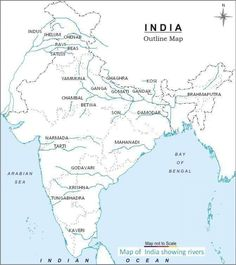 india physical map outline in size river_map Geography Revision, Geography Map, World Geography, Geography Activities, India World Map, India Map, Indian River Map, Durga Picture, Independence Day Images