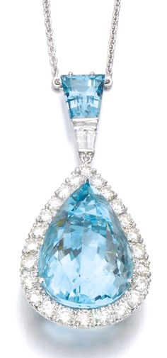 AQUAMARINE AND DIAMOND PENDANT Set with a pear-shaped aquamarine within a border of brilliant-cut diamonds, suspended from a tapered step-cut aquamarine and baguette diamonds, the chain accented with brilliant-cut diamonds, length approximately 420mm, British hallmarks for London.