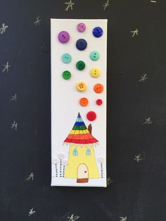 "Button Art - Rainbow Whimsical House - Button Smoke - 4x12"" Stretched Canvas - Home Decor - Rainbow Buttons by NaptimeButtons on Etsy https://www.etsy.com/listing/253830267/button-art-rainbow-whimsical-house"