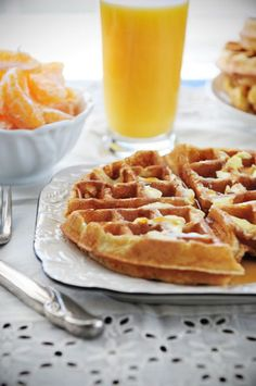 Light & fluffy waffles - a must have recipe! From @Dineanddish. Has stiff egg whites. I think I will try this.