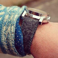 Charcoal Moon Tweed Watch Strap