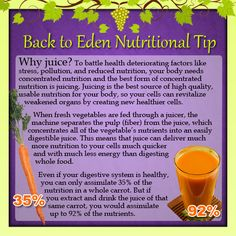 Back to Eden Nutritional Tip - Why should you juice? - (www.edenwellness.org)