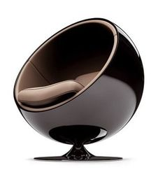 [Eero Aarnio 1965] A local mid-century vintage store, Hooper's, used to have a pair of these in red and in white. Awesome atomic space-age, and so completely different than anything before. I would love to read a book and listen to music, cocooned in the womb of this space-ship chair!
