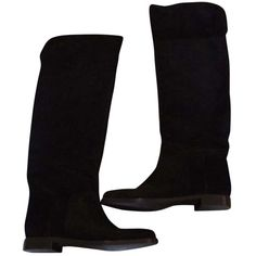 Pre-owned Sergio Rossi Over The Knee Riding Black Suede Boots ($315) ❤ liked on Polyvore featuring shoes, boots, black suede, low heel boots, suede riding boots, above the knee boots, black equestrian boots and over knee boots