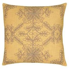 The intricate needlework on this decorative pillow will bring a little old world elegance to your home. The Rizzy Home Applique Pillow features a design that's full of interconnected loops and spirals. Use this throw pillow as accent on your favorite chair or couch. Mix and match with other solid and decorative pillows to create your own unique set.