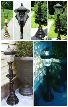 DIY solar lamp just use an inexpensive solar stake light and an old lamp base put them together and tada! A great weighted outdoor solar lamp. Redo It Yourself Interiors - Outdoor Lighting - Ideas of Outdoor Lighting Diy Solar, Solar Light Crafts, Solar Garden Lights, Outdoor Solar Lamps, Outdoor Lighting, Outdoor Decor, Lighting Ideas, Backyard Lighting, Outdoor Walkway