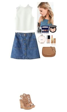 """Summer outfit Beautifulhalo"" by eliza-redkina ❤ liked on Polyvore featuring Charles by Charles David, Chanel, LORAC, Anastasia Beverly Hills, tarte and MICHAEL Michael Kors"