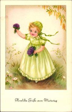 Artist Postcard Petersen, Hannes, Glückwunsch Muttertag, Mädchen mit Blumen