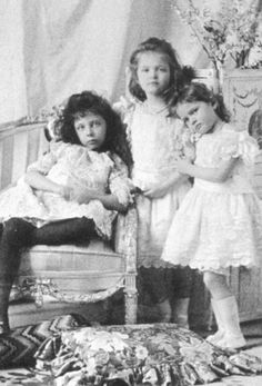 Princess Elisabeth of Hesse with her cousins, Grand Duchess Olga and Grand Duchess Tatiana of Russia.