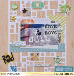 "The Cut Shoppe: Layout by Katrina Hunt uses ""Very Squarey"" cut file."