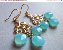 40% OFF SAMPLE SALE, Chalcedony Chandelier Earrings, Handmade, Aqua Chalcedony earrings, Matte Gold Chandelier Earrings, Gemstone Earrings