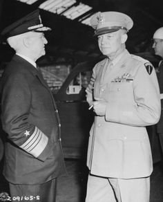 Admiral Harold Stark and General Dwight Eisenhower at Antwerp, Belgium, 15 Jul 1945, photo 2 of 2; they were awaiting the arrival of US President Harry Truman, en route for the Potsdam Conference