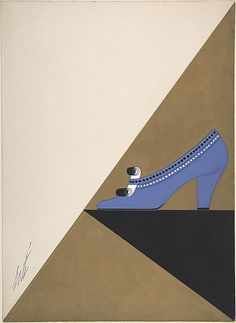 Shoe Design for Delman's Shoes, New York 1934. Gouache.   Erté (Romain de Tirtoff)  (French (born Russia), St. Petersburg 1892–1990 Paris)