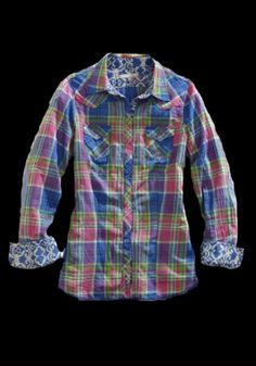 Tin Haul® Women's Pink Plaid Long Sleeve Pearl Snap Western Shirt