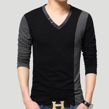 2016 Automne Hommes Occasionnels T Chemises Solide Marque Clothing Long de manches Homme Mince Vêtements Mâle Usure T-Shirts Tops T-shirts Plus taille(China (Mainland))
