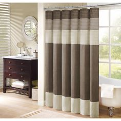 Madison Park Soloman Pieced Faux Silk Shower Curtain