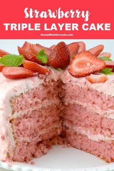 Strawberry Triple Layer Cake This Triple Decker Strawberry Cake is an absolute showstopper. Its super moist, rich and really sweet! I hopped into the kitchen to create my crazy-delicious, triple decker Strawberry Cake with strawberry buttercream frosting! Strawberry Layer Cakes, Strawberry Cake Recipes, Homemade Strawberry Cake, Strawberry Cake From Scratch, Strawberry Frosting, Southern Strawberry Cake Recipe, Pineapple Frosting, Strawberry Birthday Cake, Food Cakes