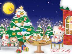 christmas backgrounds | ... Kitty Christmas Wallpaper Sanrio Christmas Kawaii Wallpapers Blog