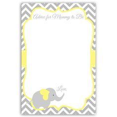 Chevron Elephant Yellow Advice Card Have guests give advice at your gender neutral baby shower with this yellow and gray chevron striped advice card featuring an elephant. Card measures 6 x Baby Shower Drinks, Baby Shower Niño, Boy Baby Shower Themes, Baby Shower Cards, Baby Boy Shower, Baby Shower Yellow, Gender Neutral Baby Shower, Baby Elefante, Baby Shower Invitaciones