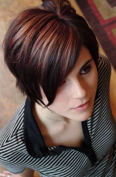 Cranberry and Blonde over dark brown by Dathan Hunter Salon, via Flickr