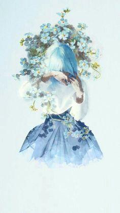 Flowers Blue Illustration Wallpapers Ideas For 2019 – Wallpaper Art Anime Fille, Anime Art Girl, Manga Girl, Manga Anime, Sad Girl Art, Blue Drawings, Art Drawings, Art Floral, Art Mignon