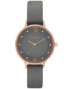 Skagen Women's Anita Gray Leather Strap Watch 30mm SKW2267